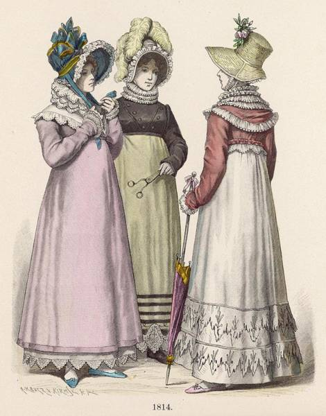 Wall Art - Drawing - Three Women In Walking Dress  From 1814 by Mary Evans Picture Library