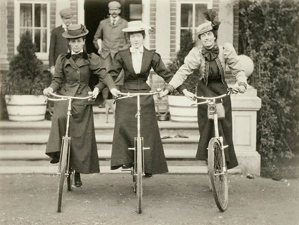Bicyclist Wall Art - Photograph - Three Women On Bicycles, Early 1900s by English Photographer