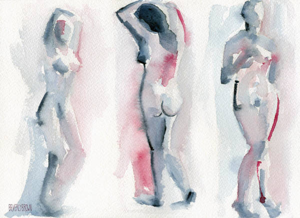 Semi Abstract Painting - Three Women Pink And Blue Watercolor Nude Figure Painting by Beverly Brown