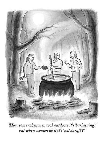 Witches Drawing - Three Women Stand Around A Large Cauldron by Paul Noth