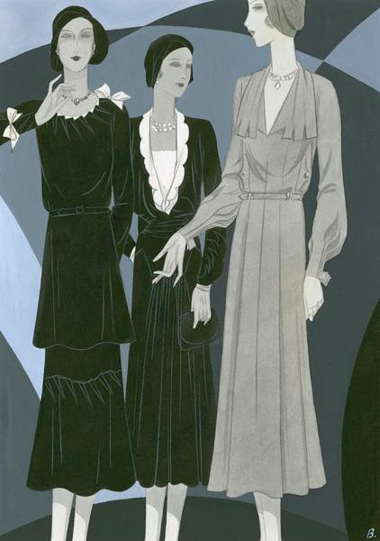 Necklace Digital Art - Three Women Wearing Dresses By Germaine Lecomte by William Bolin