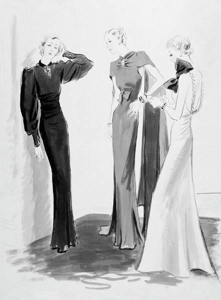 Evening Gown Digital Art - Three Women Wearing Evening Dresses by Eduardo Garcia Benito