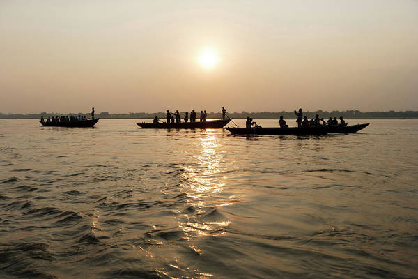 Ganges River Photograph - Three Wooden Boats Filled With Tourists by Ali Kabas