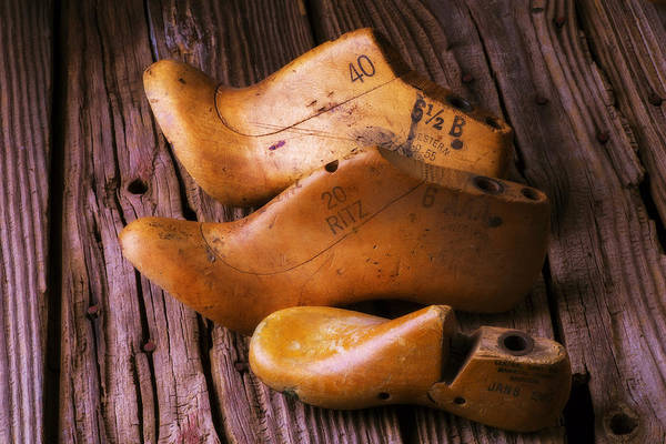 Wooden Shoe Photograph - Three Wooden Shoe Forms by Garry Gay