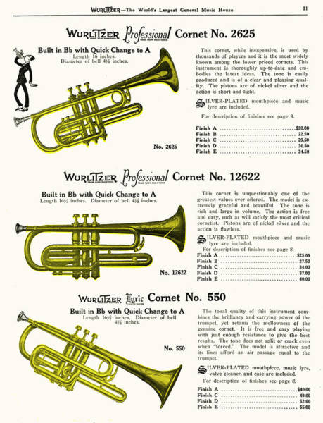 Trio Drawing - Three Wurlitzer Cornets         Date by Mary Evans Picture Library