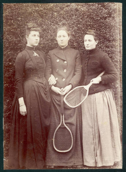 Wall Art - Photograph - Three Young Women, Two With  Tennis by Mary Evans Picture Library
