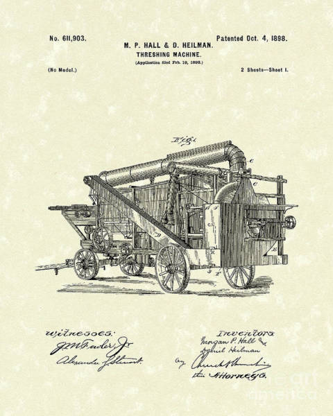 Drawing - Threshing Machine 1898 Patent Art by Prior Art Design