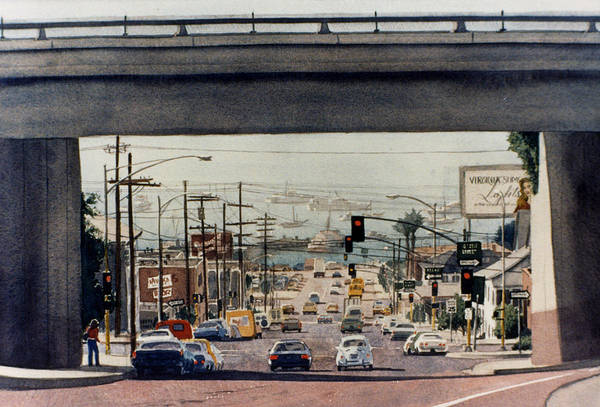 Southern California Painting - Through The Bridge On Hawthorn by Mary Helmreich