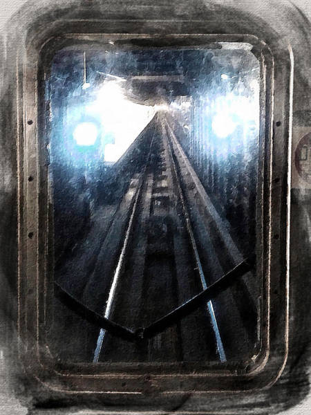 Painting - Through The Last Subway Car Window 2 by Tony Rubino
