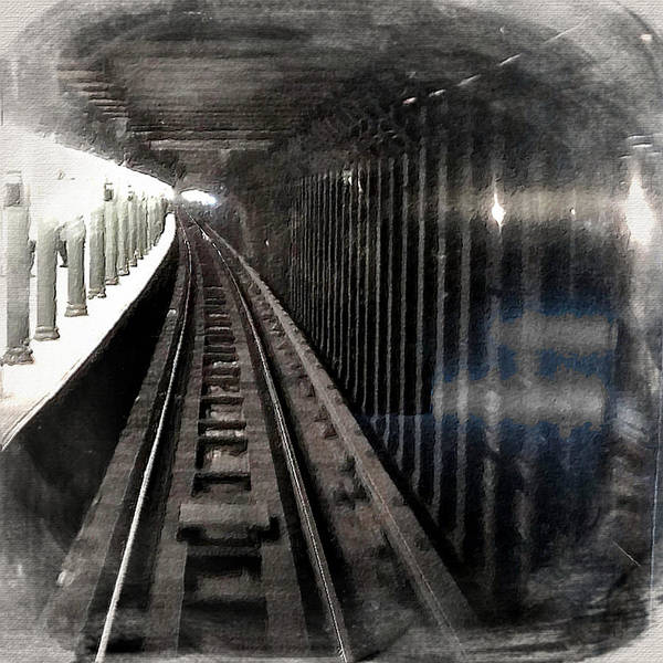 Painting - Through The Last Subway Car Window 3 by Tony Rubino