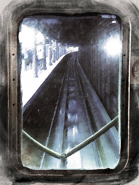 Painting - Through The Last Subway Car Window 4 by Tony Rubino