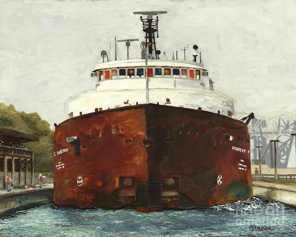 Lake Superior Painting - Through The Locks - Herbert C. Jackson by Stefanie Moran