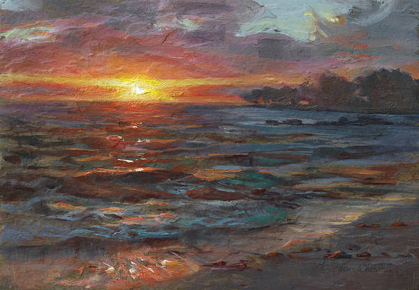 Wall Art - Painting - Through The Vog - Hawaii Beach Sunset by Karen Whitworth