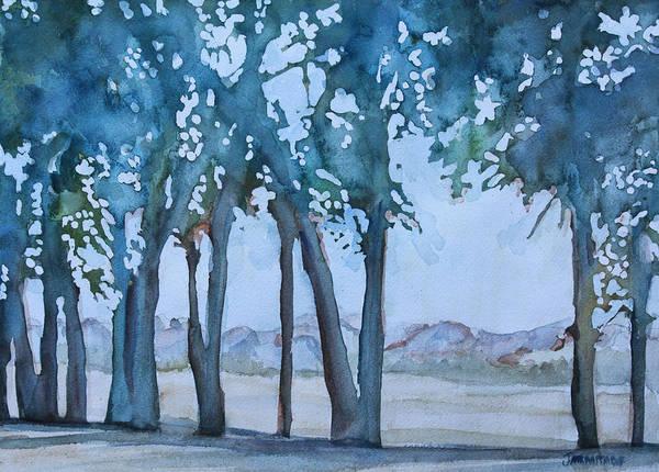 Nebraska Painting - Through The Wind Break by Jenny Armitage