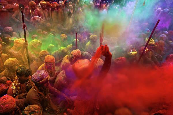 Holi Photograph - Throw by Copyright Soumya Bandyopadhyay Photography