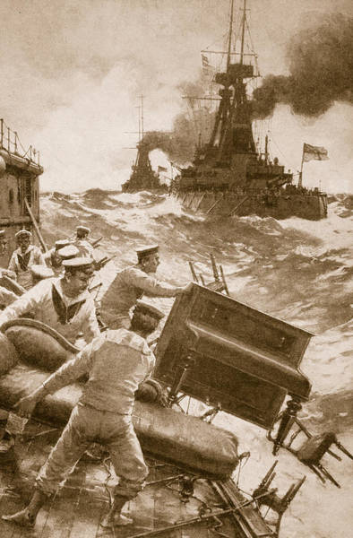 Pier Drawing - Throwing Overboard All Inflammable Luxuries When A Battleship Is Cleared For Action by English School