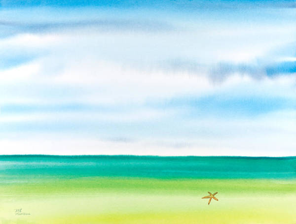 Painting - Throwing Starfish Into The Sea Watercolor Painting by Michelle Constantine