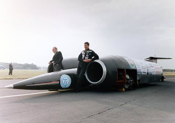 Breaking Sound Barrier Wall Art - Photograph - Thrust Ssc Supersonic Car And Team by Science Photo Library