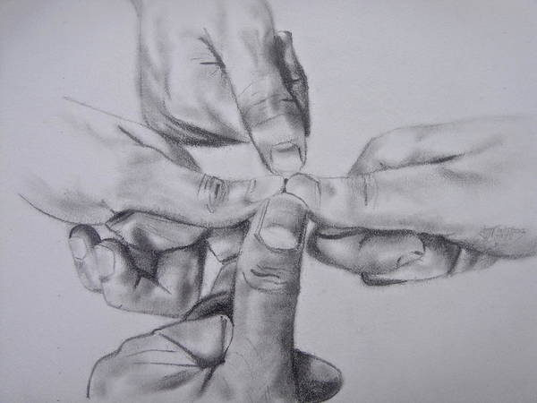 Unity Drawing - Thumbs In by Ann Supan