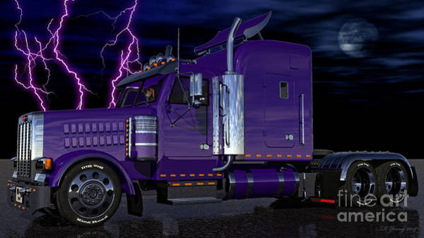 Semi Truck Digital Art - Thunder Rolls by Dave Young