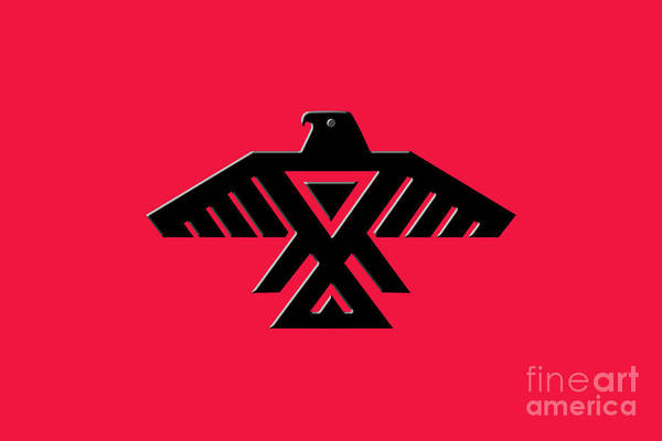 Wall Art - Digital Art - Thunderbird Emblem Of The Anishinaabe People Black On Red Version by Bruce Stanfield