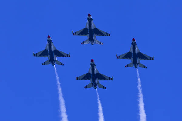 Photograph - Thunderbirds Diamond Formation Undersides 2 by Donna Corless