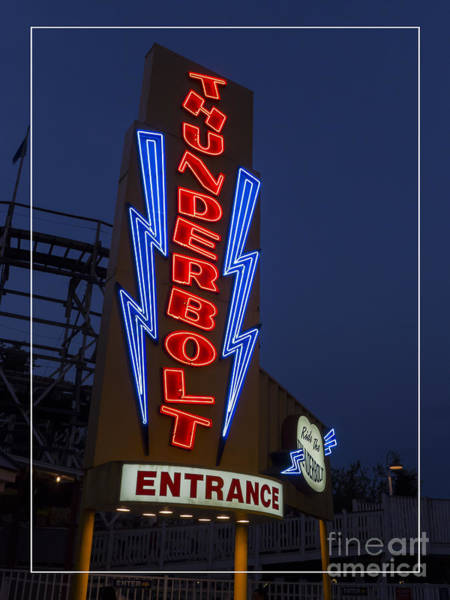 Vintage Neon Sign Photograph - Thunderbolt Rollercoaster Neon Sign by Edward Fielding