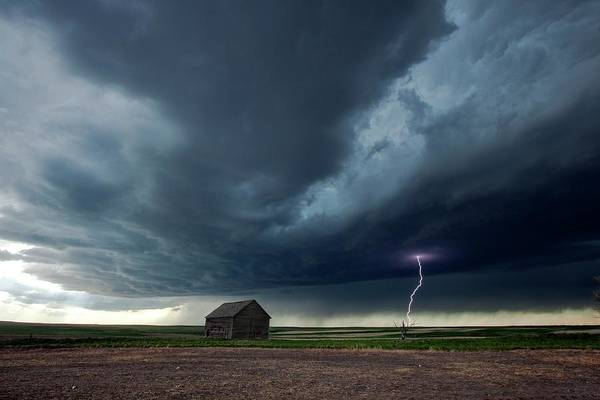 Electrical Field Wall Art - Photograph - Thunderstorm And Barn by Roger Hill