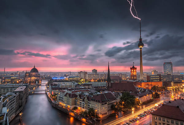 Berlin Cathedral Photograph - Thunderstorm At Alexanderplatz In Berlin Germany by Nico Trinkhaus