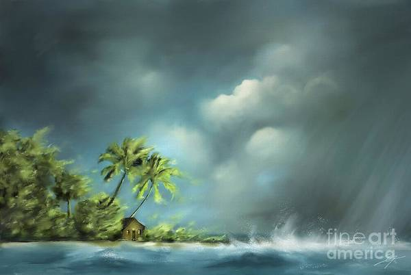 Susi Wall Art - Painting - Thunderstorm At Jupiter Beach by Artist ForYou
