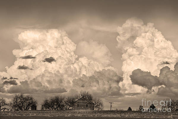 Photograph - Thunderstorm Clouds And The Little House On The Prairie Sepia by James BO Insogna