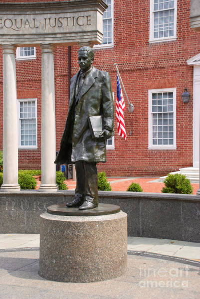 Photograph - Thurgood Marshall Statue With American Flag by Mark Dodd