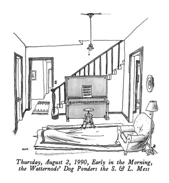 Drawing - Thursday, August 2, 1990, Early In The Morning by George Booth