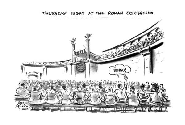 Row Drawing - Thursday Night At The Roman Colosseum by Ed Fisher