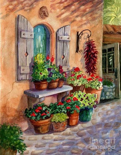 Red Geraniums Wall Art - Painting - Tia Rosa's Place by Marilyn Smith
