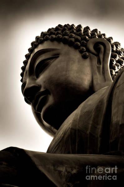 Giant Buddha Photograph - Tian Tan Buddha Portrait by Venetta Archer