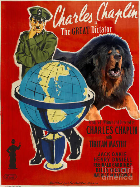 Tibetan Mastiff Painting - Tibetan Mastiff Art Canvas Print - The Great Dictator Movie Poster by Sandra Sij
