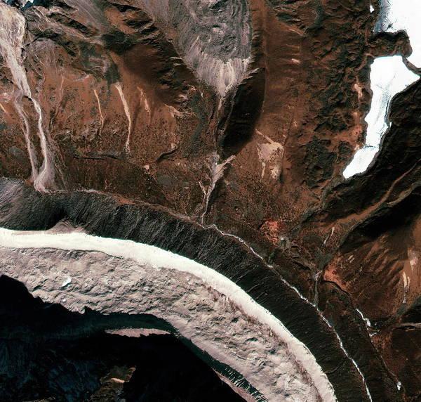 Tibet Photograph - Tibetan Mountains by Geoeye/science Photo Library
