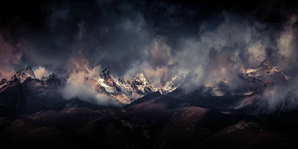 Wall Art - Photograph - Tibetan Snow Capped Mountains A???c????a????e???ae???a??? by Qiye???????????