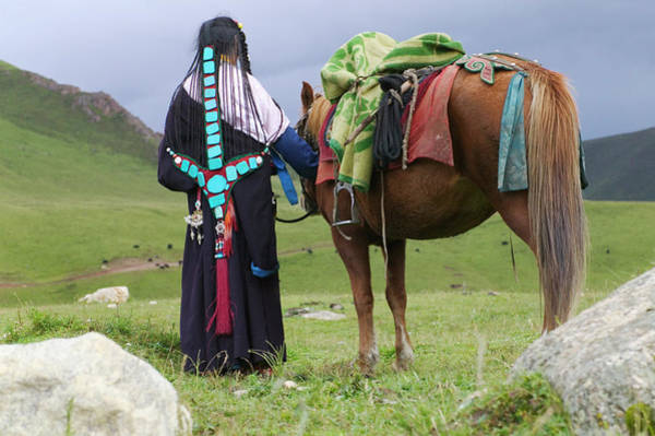 Traditional Clothing Photograph - Tibetan Woman Wearing Traditional by Keren Su