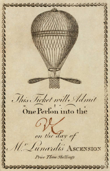 Wall Art - Photograph - Ticket For A Lunardi Balloon Flight by Library Of Congress/science Photo Library