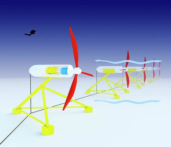 Blades Photograph - Tidal Turbine Energy by Science Photo Library