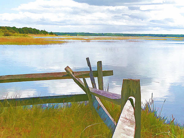 Fence Post Digital Art - Tide And Fence Oil by Barbara McDevitt