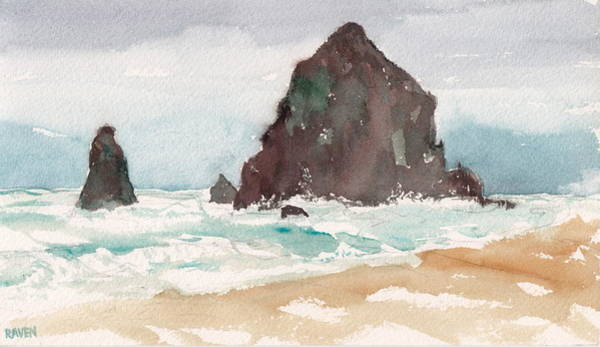 Cannon Beach Painting - Tide In At Cannon Beach by Alaskan Raven Studio