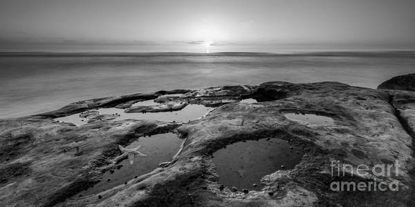 Reverse Wall Art - Photograph - Tide Pool Sunset 16x8 Crop Bw by Michael Ver Sprill