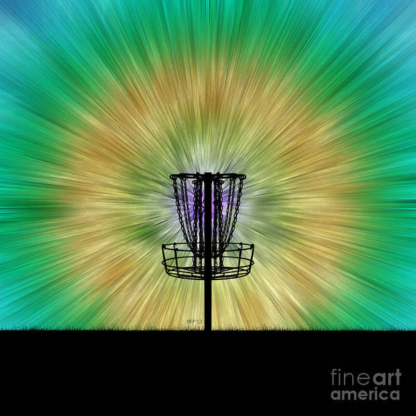 Wall Art - Digital Art - Tie Dye Disc Golf Basket by Phil Perkins