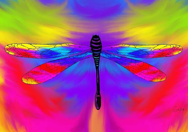 Dragon Fly Painting - Tie Dye Dragonfly by Nick Gustafson