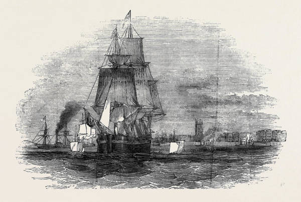 Wall Art - Drawing - Tie First Greenland Whaling Ship Leaving Hull by English School