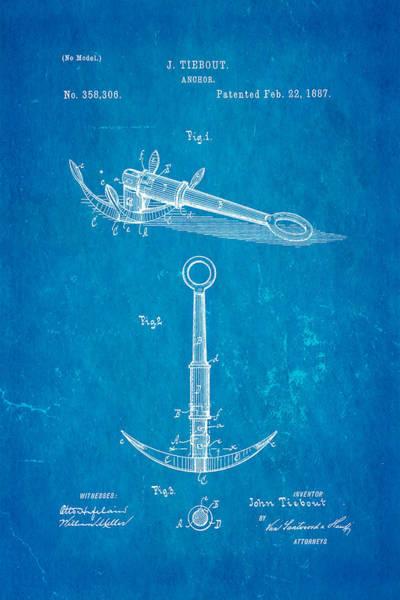 Seamen Photograph - Tiebout Anchor Patent Art 1887 Blueprint by Ian Monk