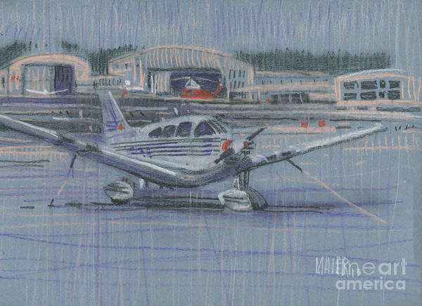 Plane Drawing - Tied Down by Donald Maier